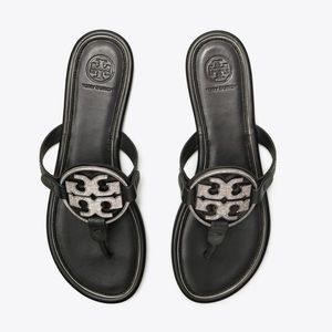 Tory Burch Shoes - Tory Burch Miller Flat Crystal Logo Slide Sandals